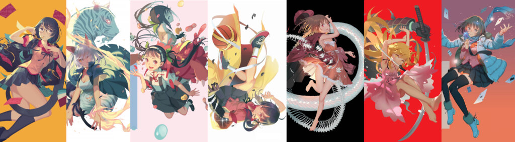 The English Translated Monogatari Novel (by Nisio Isin) Covers That Feature The Heroines